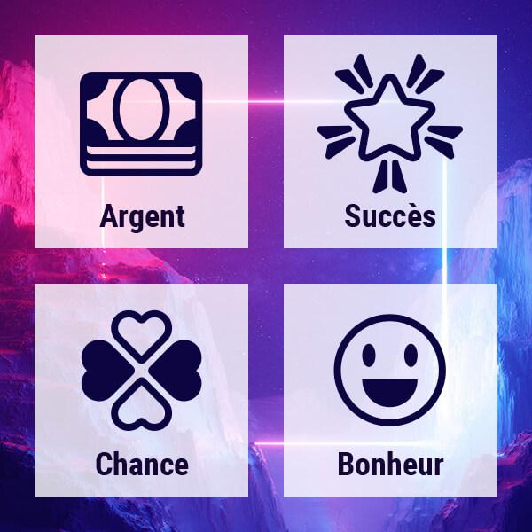 Argent, Succès, Chance, Bonheur